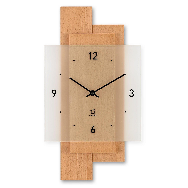Natuhr Wanduhr Holz Uhrwerk, Buchwald, geräuscharm, Massivholz Buche, Mineralglas, Junghans Uhrwerk, Holz Made in Germay 6b7041
