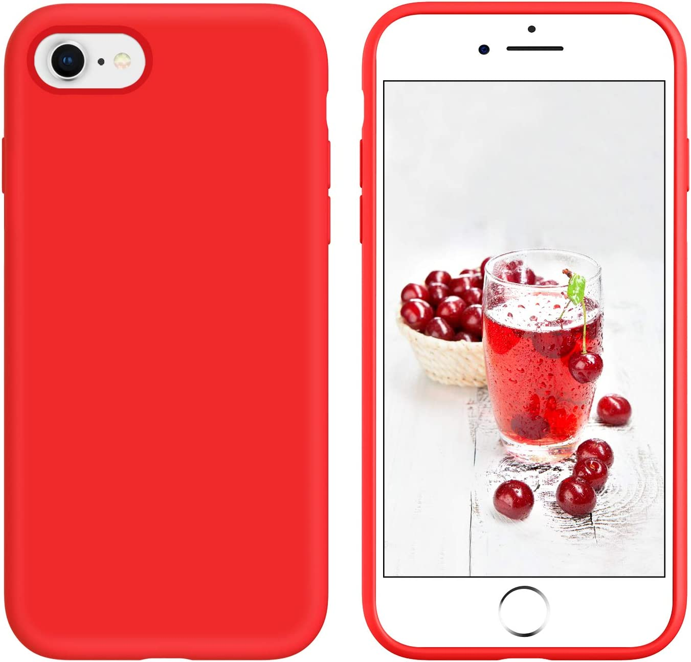 YINLAI iPhone SE 2020 Case iPhone 8 Case iPhone 7 Case Slim Liquid Silicone Hybrid Rubber Shockproof Bumper Protective Phone Cover for iPhone SE 2nd Generation/iPhone 8/7 Girls Women Men Summer Red