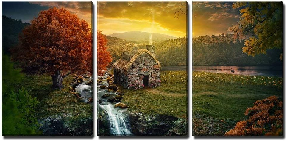 Amazon Com Wall26 3 Piece Canvas Wall Art Beautiful Nature Scene With Cottage In The Mountains Near A Stream Modern Home Art Stretched And Framed Ready To Hang 16 X24 X3