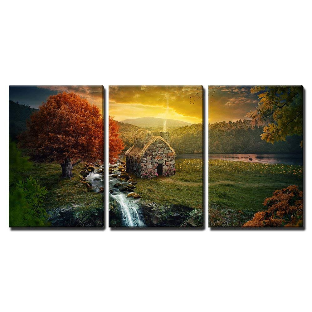 wall26 - 3 Piece Canvas Wall Art - Beautiful nature scene with cottage in the mountains near a stream. - Modern Home Decor Stretched and Framed Ready to Hang - 16''x24''x3 Panels
