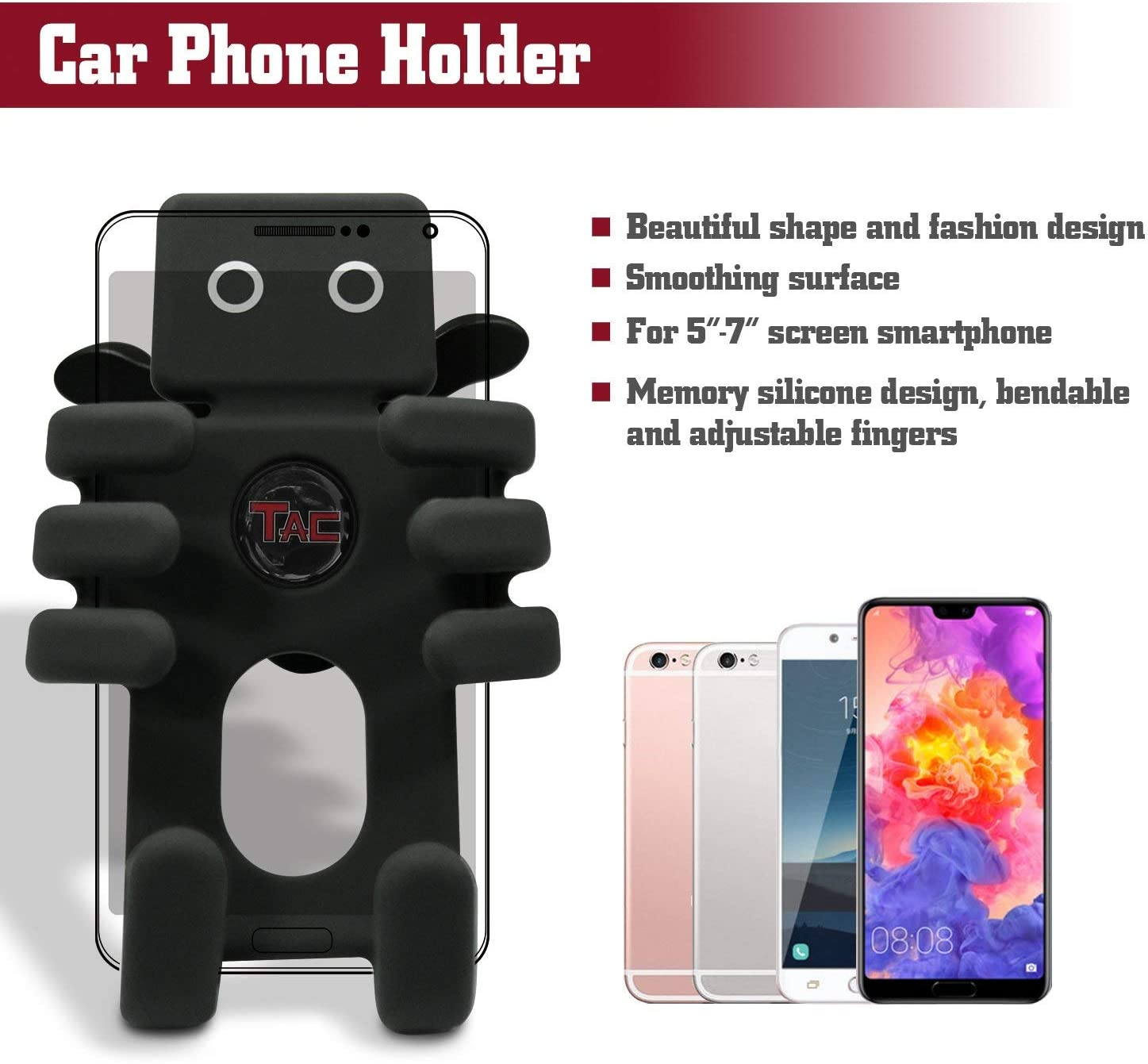 Include Apple iPhone, Samsung, HTC, Huawei TAC Car Phone Mount Universal Cell Phone Silicon Holder Car Cradle Fit 5 to 7/All Smartphones and GPS Devices