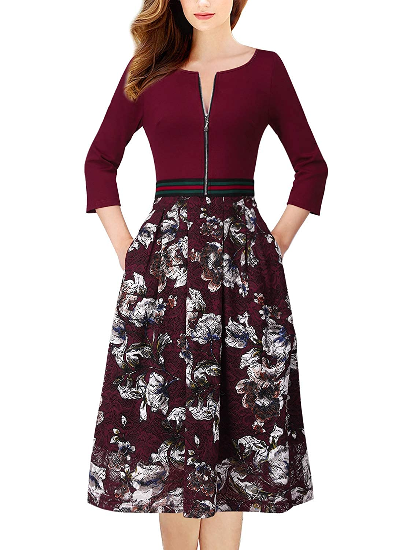 Burgundy + Floral Lace VFSHOW Womens Floral Lace Print Zip Up Pocket Cocktail Party ALine Dress