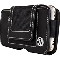 VanGoddy Holster Belt Clip PU Leather Wallet Pouch Case Cover (XL, Nylon - Black)