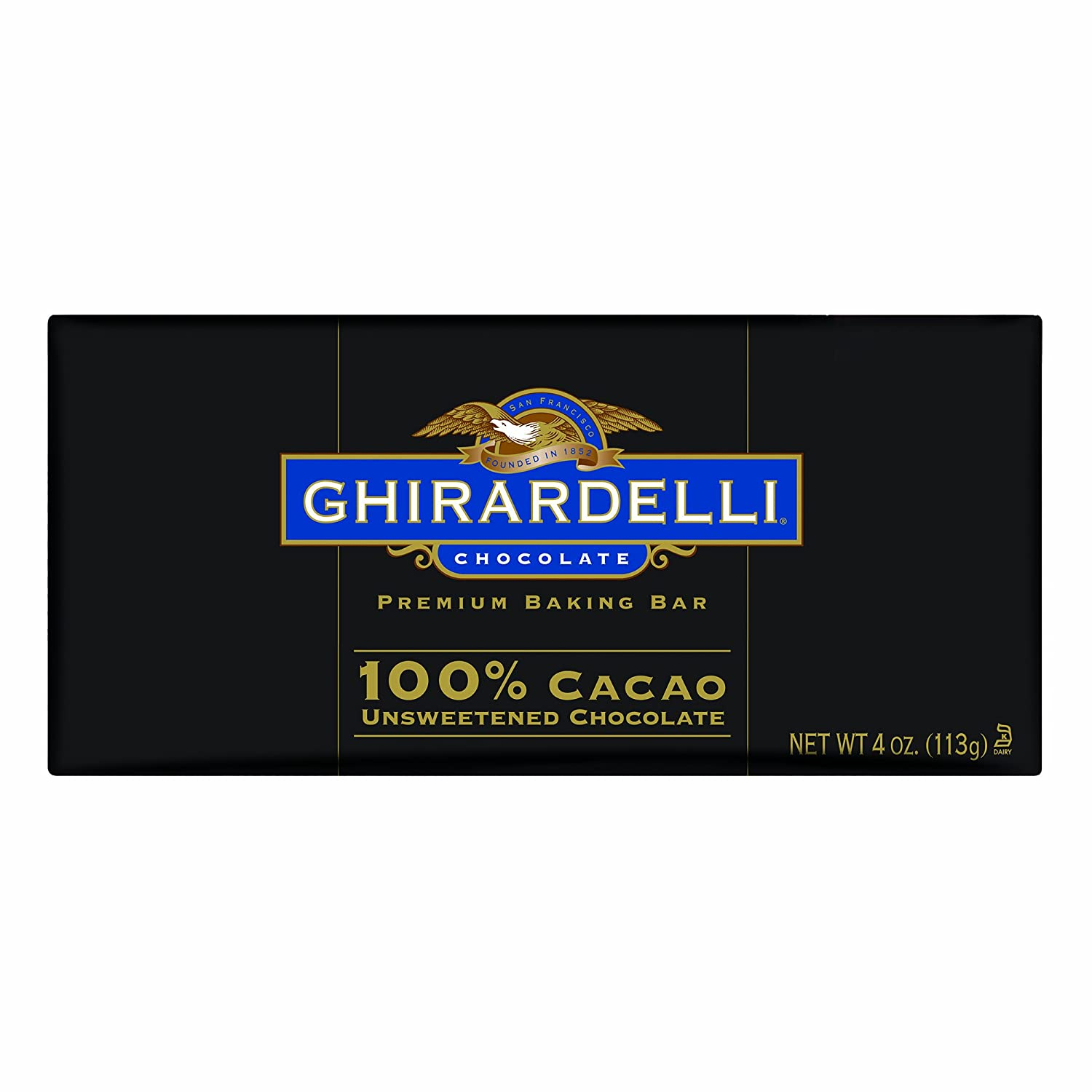 Amazon.com : Ghirardelli 100% Cacao Unsweetened Chocolate Bar - 4 ...