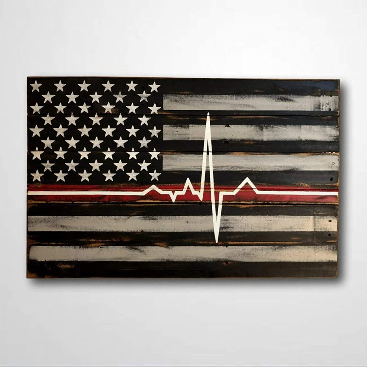 BYRON HOYLE Wooden Sign Firefighter Present Paramedic Present Thin Red Line EMS Present EMT Present Fireman Wood Plaque Wall Art Funny Wood Sign Wall Hanger Home Decor