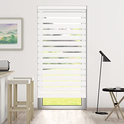 DESWIN Day and Night Blinds Roller Blind with Cassette - WHITE 160 x 190 cm W x L