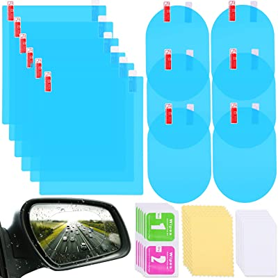 12 Pieces Car Rearview Mirror Film Rainproof Waterproof Mirror Film Anti Fog Nano Coating Car Film for Car Mirrors and Side Windows: Automotive