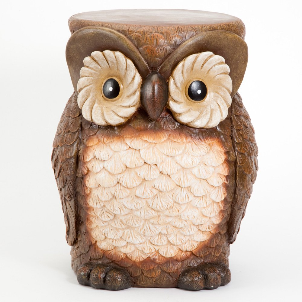 Bits and Pieces - Decorative Owl Patio Side Table - Indoor or Outdoor Weather Resistant Polyresin Accent Side Table/Stool Sculpture