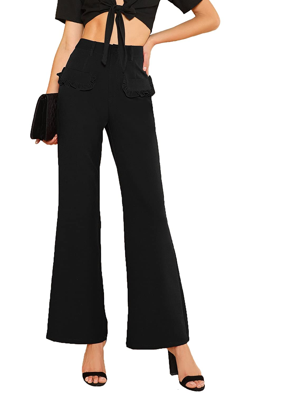 Black SheIn Women's Casual Stretchy High Waist Wide Leg Dress Pants