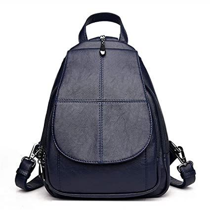 Amazon.com: Fashion Simple Backpack Female Soft Leather School Bags for Girls Luxury Brand Shoulder Bags for Women Mochila Blue 13 Inches: Computers & ...