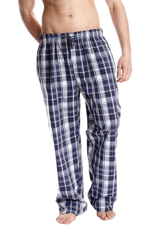 Herren Tom Franks Karrierte Pyjamahosen Unterteil Schlafanzug Nachtanzug Hausanzug (Dunkelblau) XL