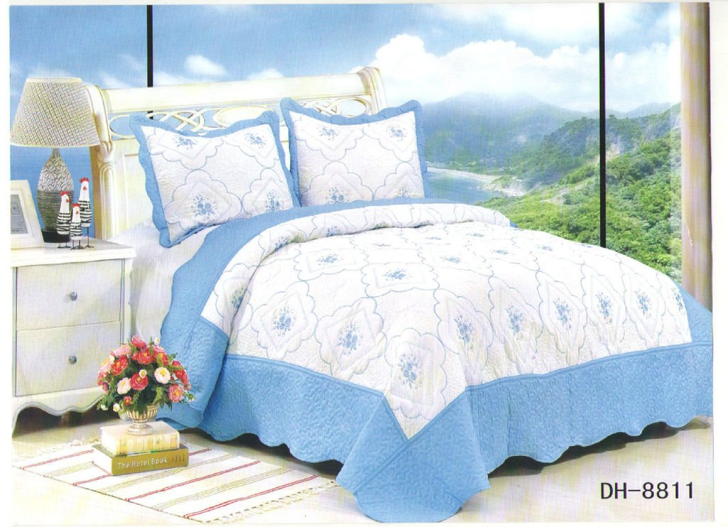 Rimi Hanger Luxury Quilted Embroidered Bedspread Set Bed Throw 2 Shams Blue DH-8811 to Fit Double and King Size