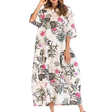 OPAKY Vestido de Mujer Verano Flojo Casual Largo Liso Tunica ...