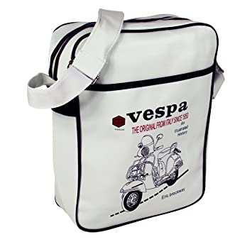 5dc9764362 Retro Vespa Flight Shoulder Bag Italy Scooter Faux Leather in White ...