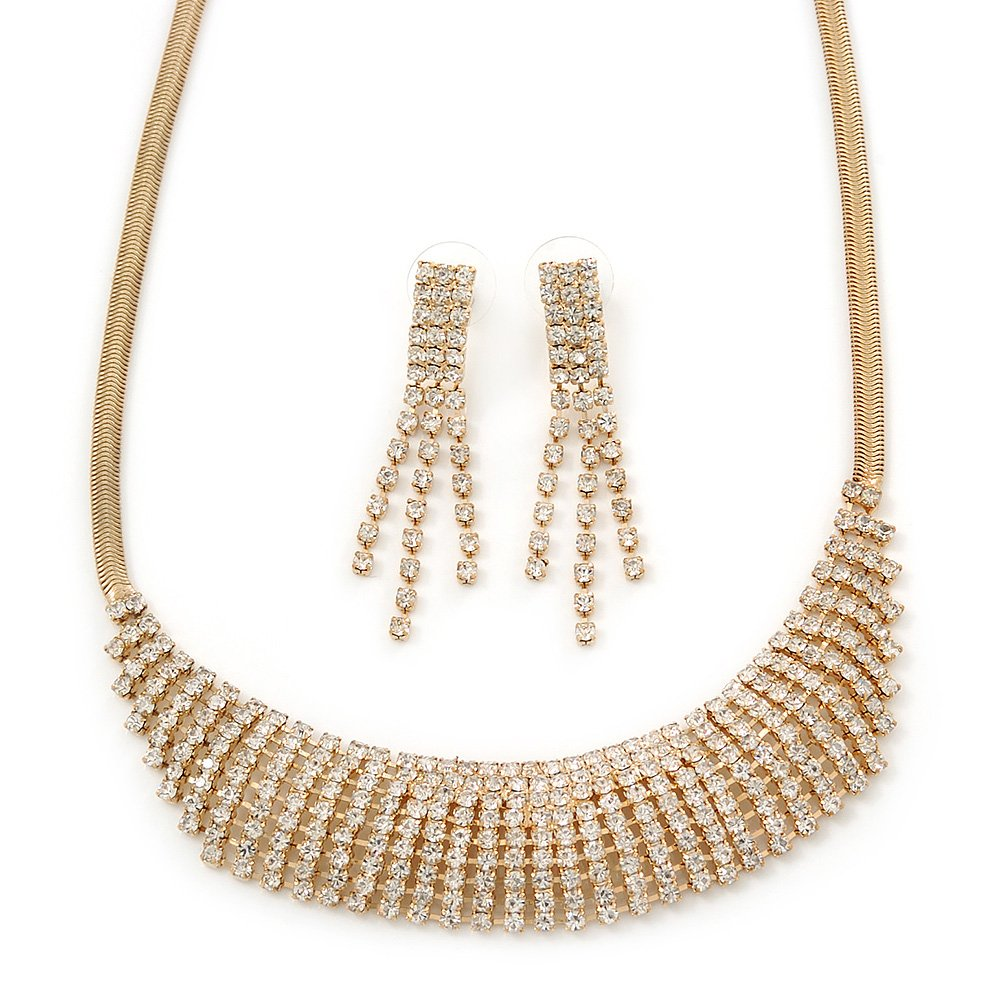 Avalaya Bridal//Wedding//Prom Clear Austrian Crystal Collar Necklace and Drop Earrings Set in Gold Tone 32cm L// 7cm Ext