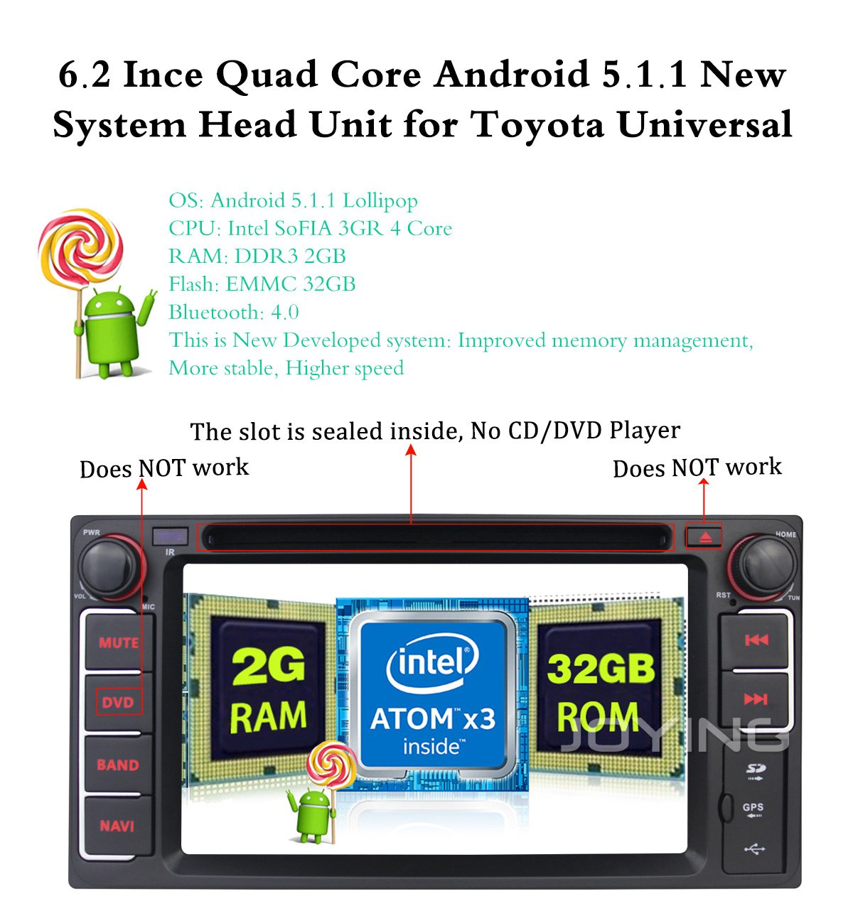 Joying Stereo Android Os 2gb Ram 32gb Rom Car Gps Radio 1761 Wiring Harness For Toyota 87up Power 4 Speaker Shopstak Most Old Models Indash Navigation Auto Audio Double Din Head Unit