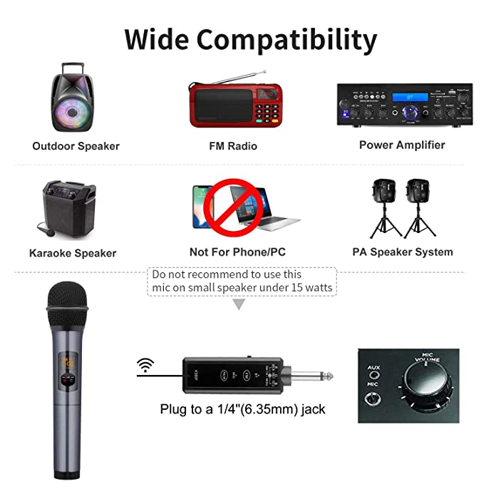 Kithouse K380F Wireless Microphone Karaoke Microphone Wireless Mic with  Bluetooth Receiver Rechargeable Professional - UHF Dynamic FM Cordless