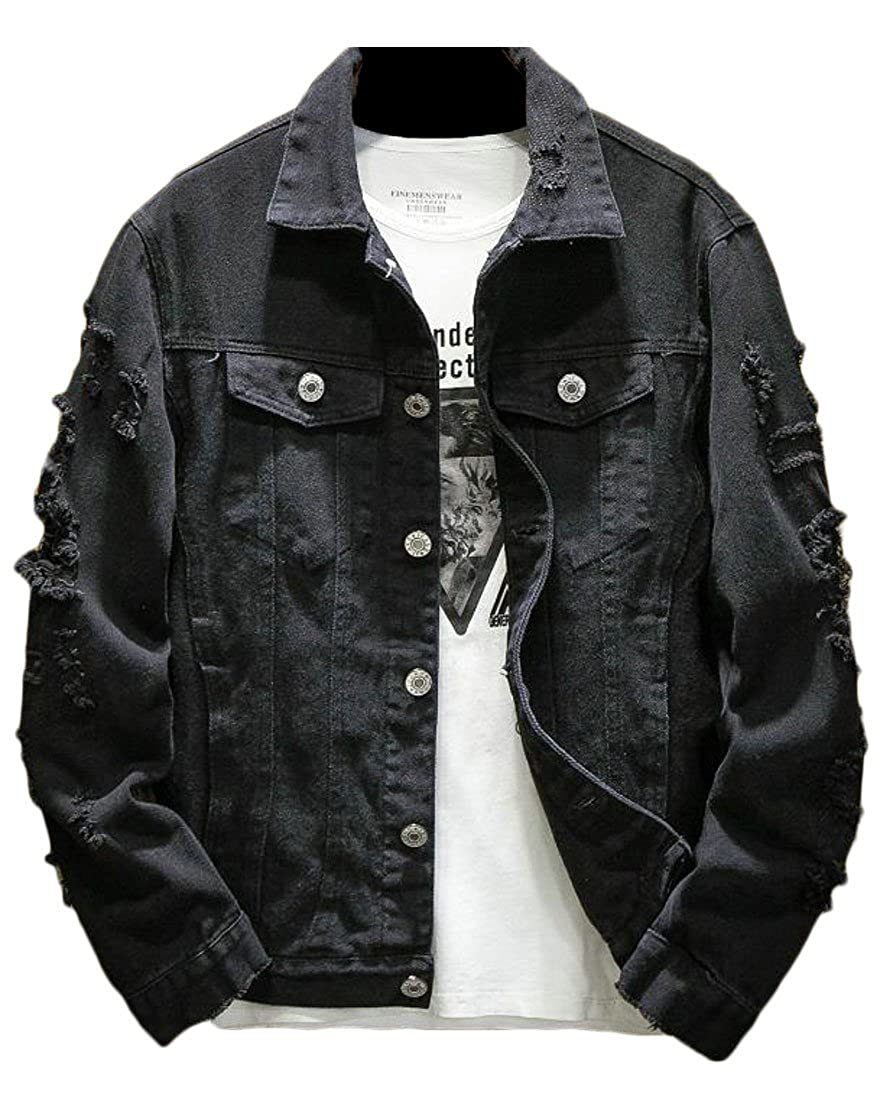 Etecredpow Mens Coat Hole Washed Loose Fit Destroyed Cowboy Denim Jacket