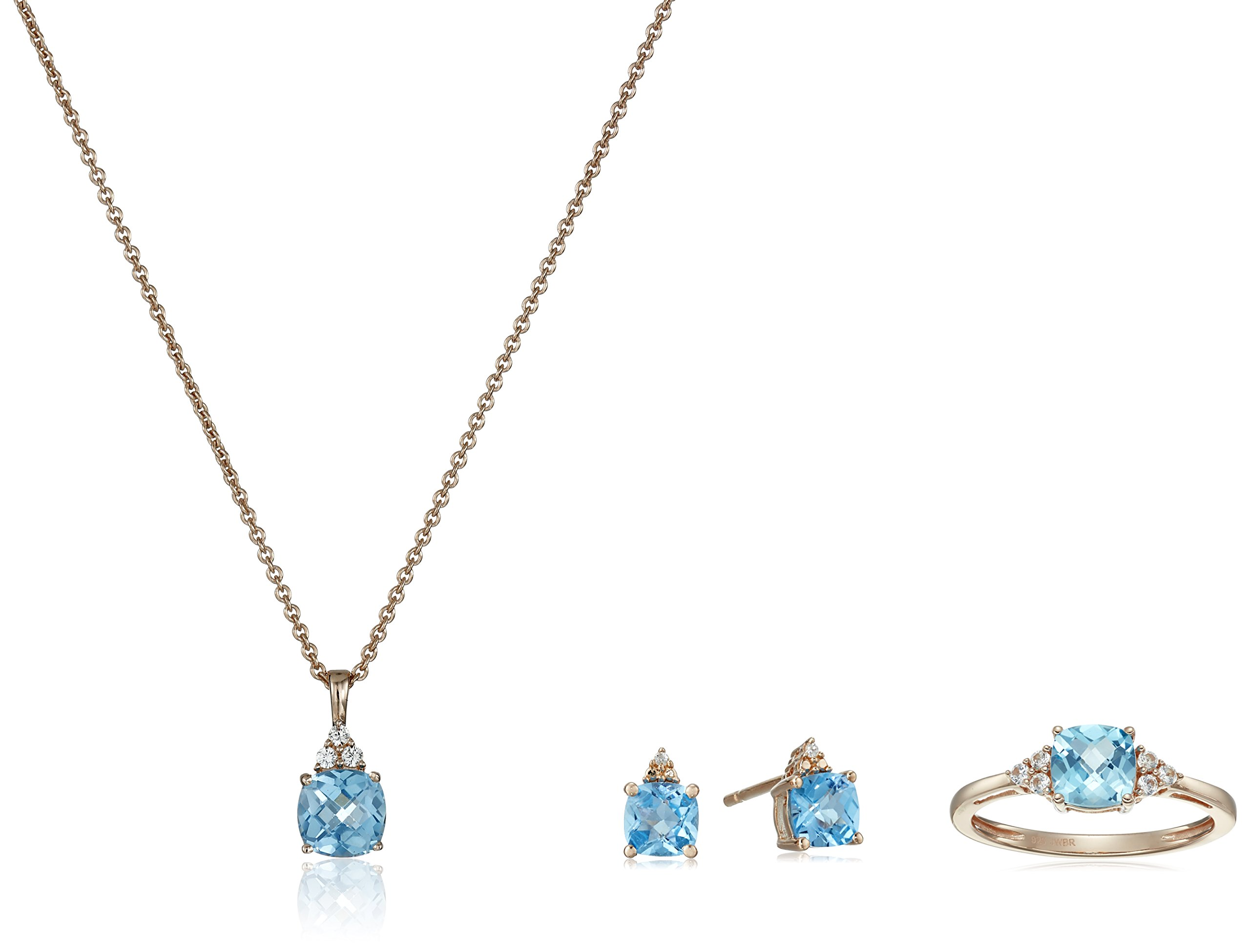 Rose Gold-Plated Sterling Silver Checkerboard Swiss Blue Topaz with Created White Sapphire Ring, Earrings and Pendant Necklace Jewelry Set
