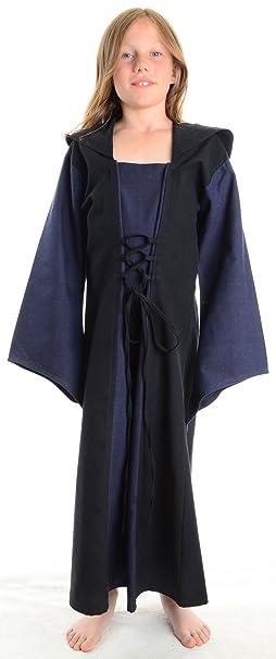 HEMAD Vestido de algodón medieval para niña - Capucha, mangas de trompeta, cordones –