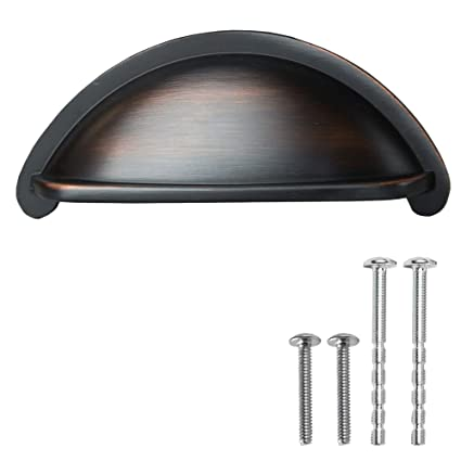 Oil Rubbed Bronze Kitchen Cabinet Pulls - 3 Inch Bin Cup Drawer Handles -  10 Pack of Kitchen Cabinet Hardware