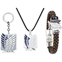 KANGSHUN Anime Attack on Titan Survey Corps Necklace Bracelet and Keychain Wings of Freedom Pendant & Braid Wristband