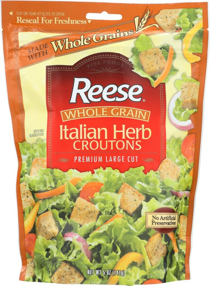 Reese Whole Grain Italian Herb Croutons, 5-Ounces (Pack of 12)