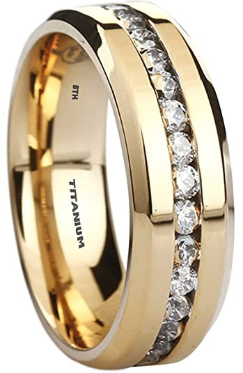 Mens Titanium Ring-8mm Wide Simulated Diamonds Classic Unisex Wedding Engagement Band Ring nh8gA4