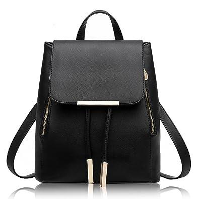 8619f4dcfa La Desire PU Leather Backpack Simple Shoulder Bag Rucksack Travel Bag for  Young Lady (Black