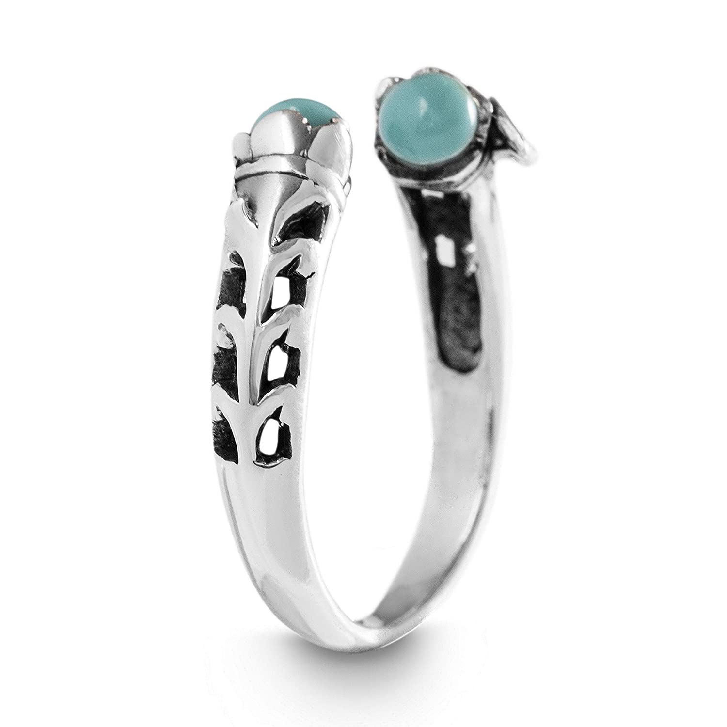 Various Sizes Willowbird Rhodium Plated Sterling Silver Simulated Turquoise Wrap Leaf Design Ring for Women