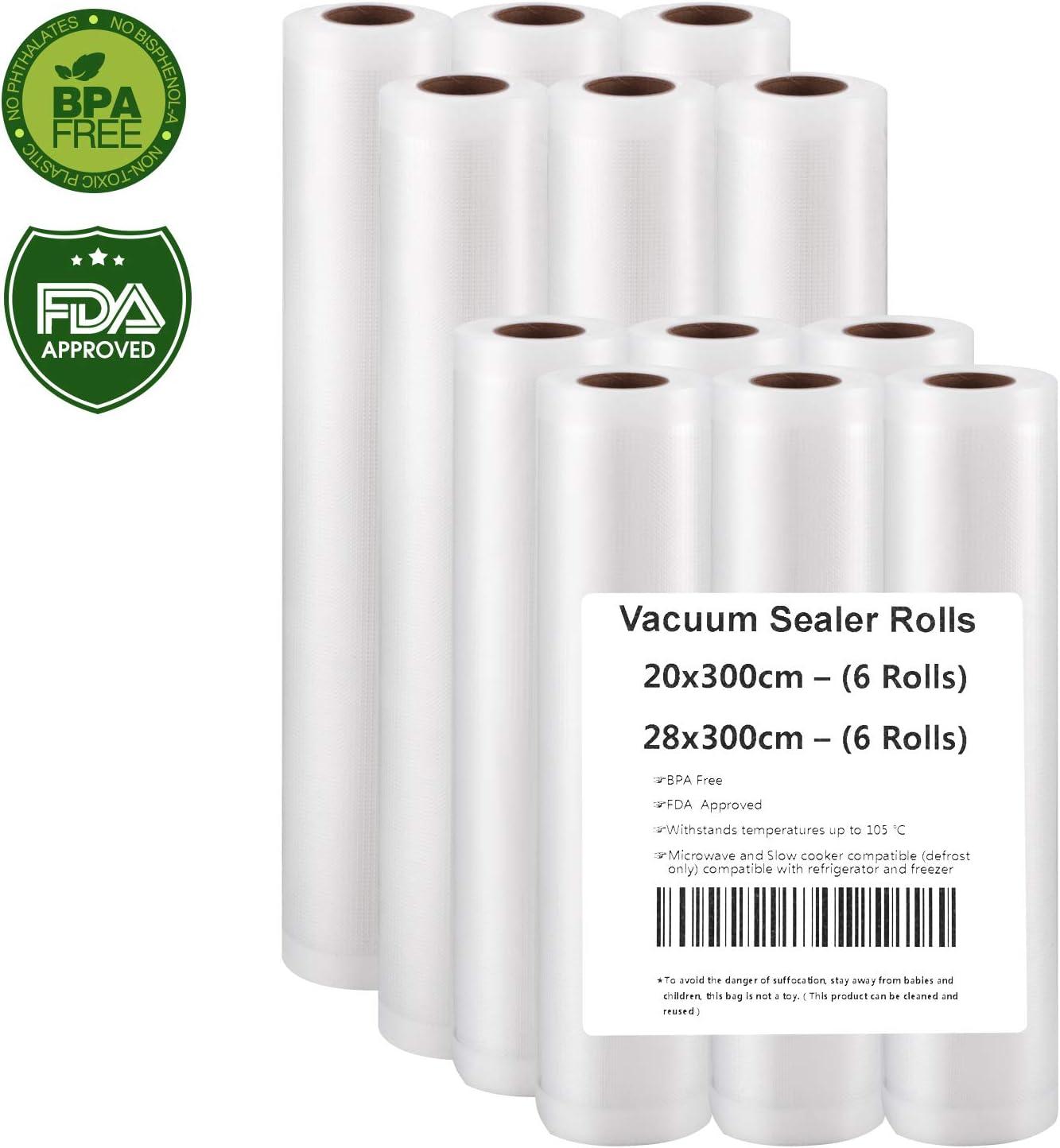 Rollo Envasado Vacío, 12 Rollos Bolsas de vacío 20x300 y 28x300cm de Grado Comercial para el Ahorrador de Alimentos y Sous Vide Cocina, Aprobación de la FDA y BPA Free