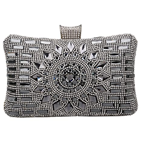 Bolsas Mujer Bolso Noche Fiesta Boda Carteras Mano Diamantes Cadena Embrague Negro