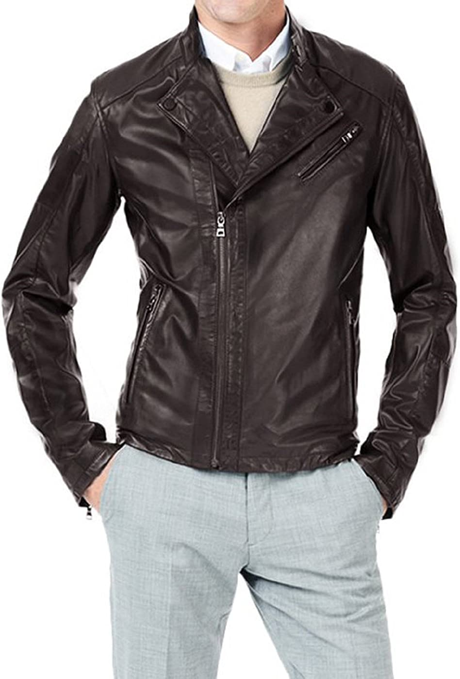 Mens Genuine Lambskin Leather Jacket Slim fit Motorcycle Jacket P198