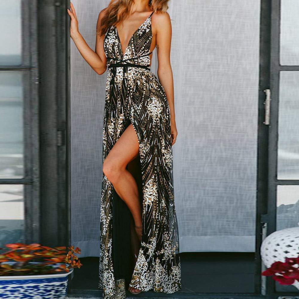 HEHEM Evening Dress Sexy Women Strappy Bandage Sleeveless V Neck Lace Dress Cocktail Prom Gown Dress: Amazon.co.uk: Clothing