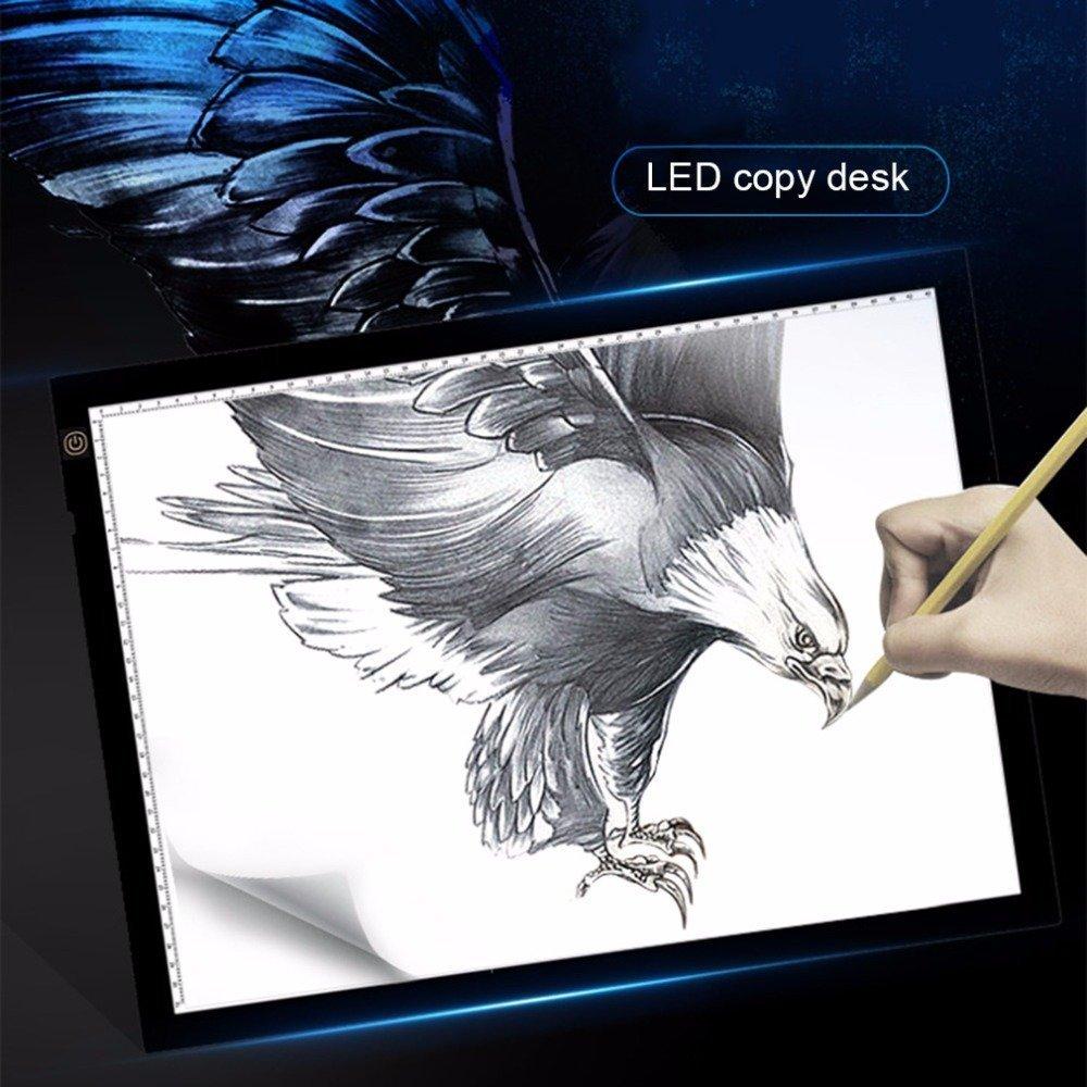 A3 Tavolette Disegno, LED Disegno abbozzando bordo, Tracciare Copy Light Box con 3 Livello Luminosità Luminosità Tatuaggio Pad animazione, sketch, Progettazione Stencilling BEECOCO01