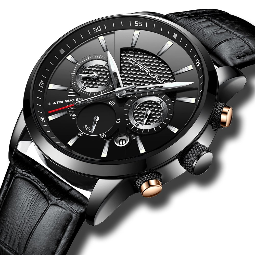 Fashion Chronograph Watches for Men Sport Wrist Watch Black Leather Strap with Date by CRRJU