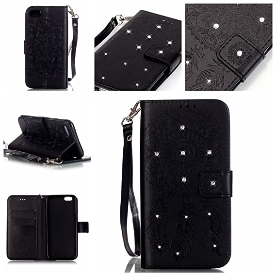 low priced 273f8 a9b53 iPhone 7 Wristlet Case, Bling Diamond Dream Catcher Black Magnetic Wallet  Card Slots Leather Case Kickstand for Apple iPhone 7 2016 Model with 3.5mm  ...
