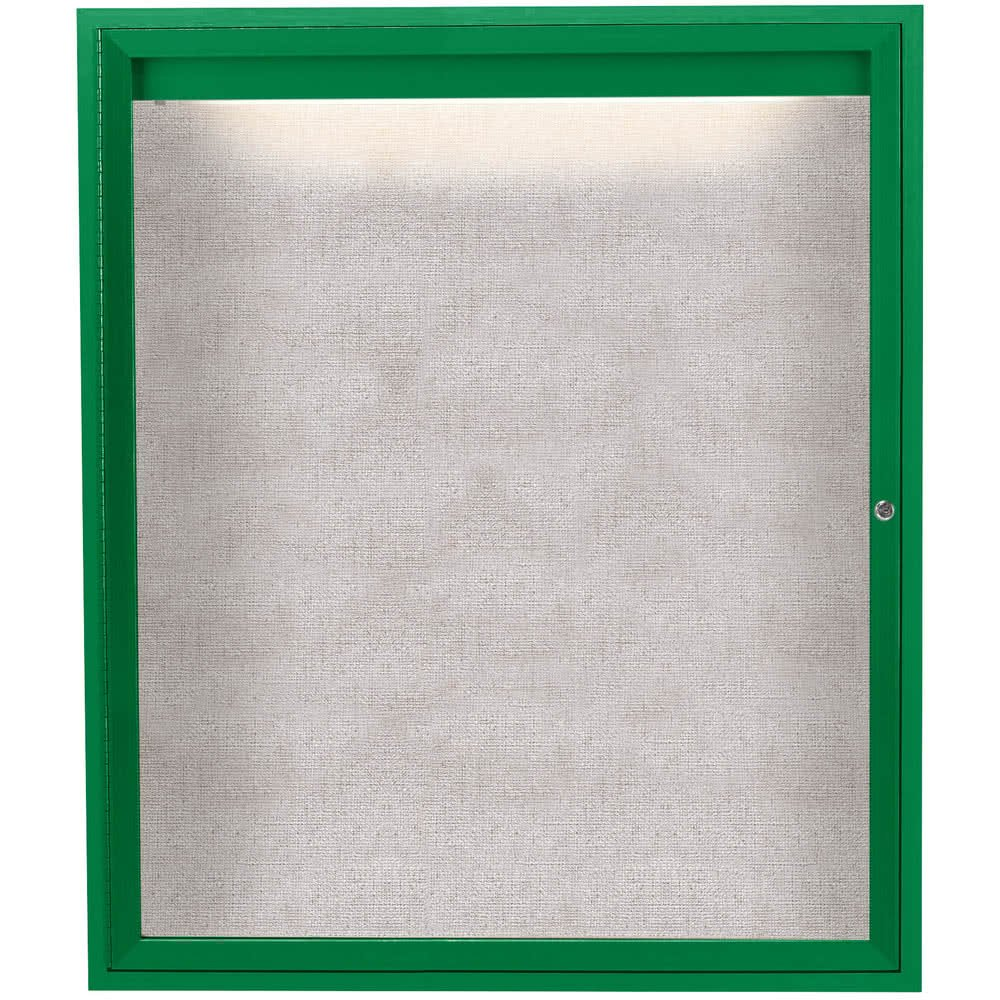 TableTop King ODCC4836RIG 48'' x 36'' Enclosed Hinged Locking 1 Door Powder Coated Green Outdoor Lighted Bulletin Board Cabinet