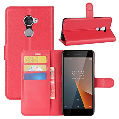 buy popular 57903 5a134 HualuBro Vodafone Smart V8 Case, Premium PU Leather Wallet Flip Phone  Protective Case Cover with Card Slots for Vodafone Smart V8 Smartphone (Red)