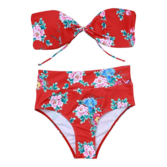 d4b3016b05 Amazon.com  2018 Europe and The United States New Sexy Bra Straps high  Waist Print Swimsuit Female Amazon Ebay Bikini Bikini  Clothing
