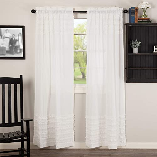 VHC Brands Farmhouse Curtains Petticoat Rod Pocket Cotton Tie Back s Ruched Ruffle Sheer Solid Color Panel Pair