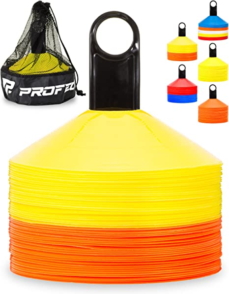 SET 50 MINI SMALL DISC CONES YELLOW WITH STAND AGILITY TRAINING SOCCER COACHING