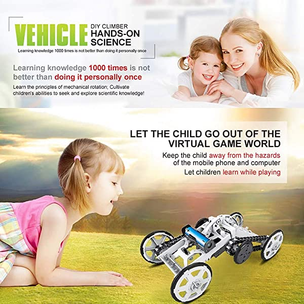WOMTOY 4WD KIT DE ENSAMBLAJE DE JUGUETES PARA AUTOMÓVILES, tracción en las cuatro ruedas Vehículo de escalada DIY Proyectos de construcción de circuitos eléctricos para automóviles todoterreno para niños y adolescentes
