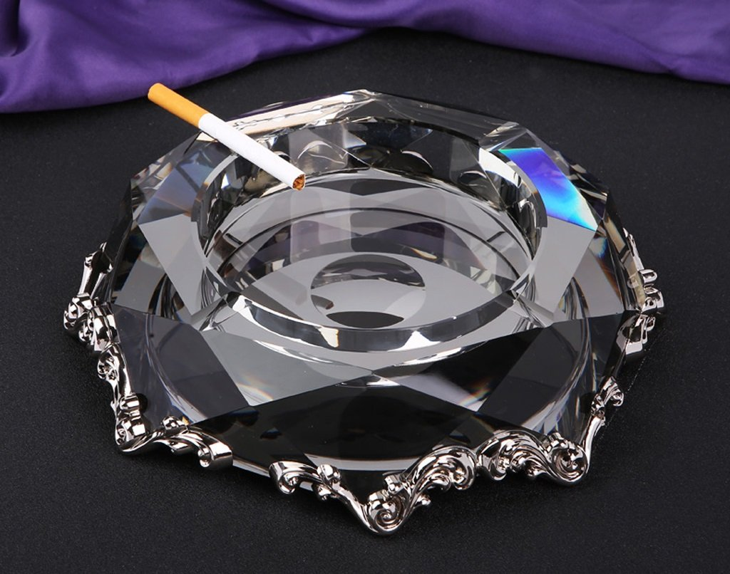 Hyun times Continental black gold silver horn crystal ashtray ashtray creative retro living room office utility