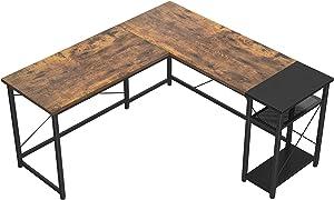 Karcog L-Shaped Desk Computer Corner Desk with Storage Shelves, Large L Shaped Gaming Desk Industrial Study Writing Table for Home Office, U Shaped Work Desk Office Workstation, Rustic Brown/Black
