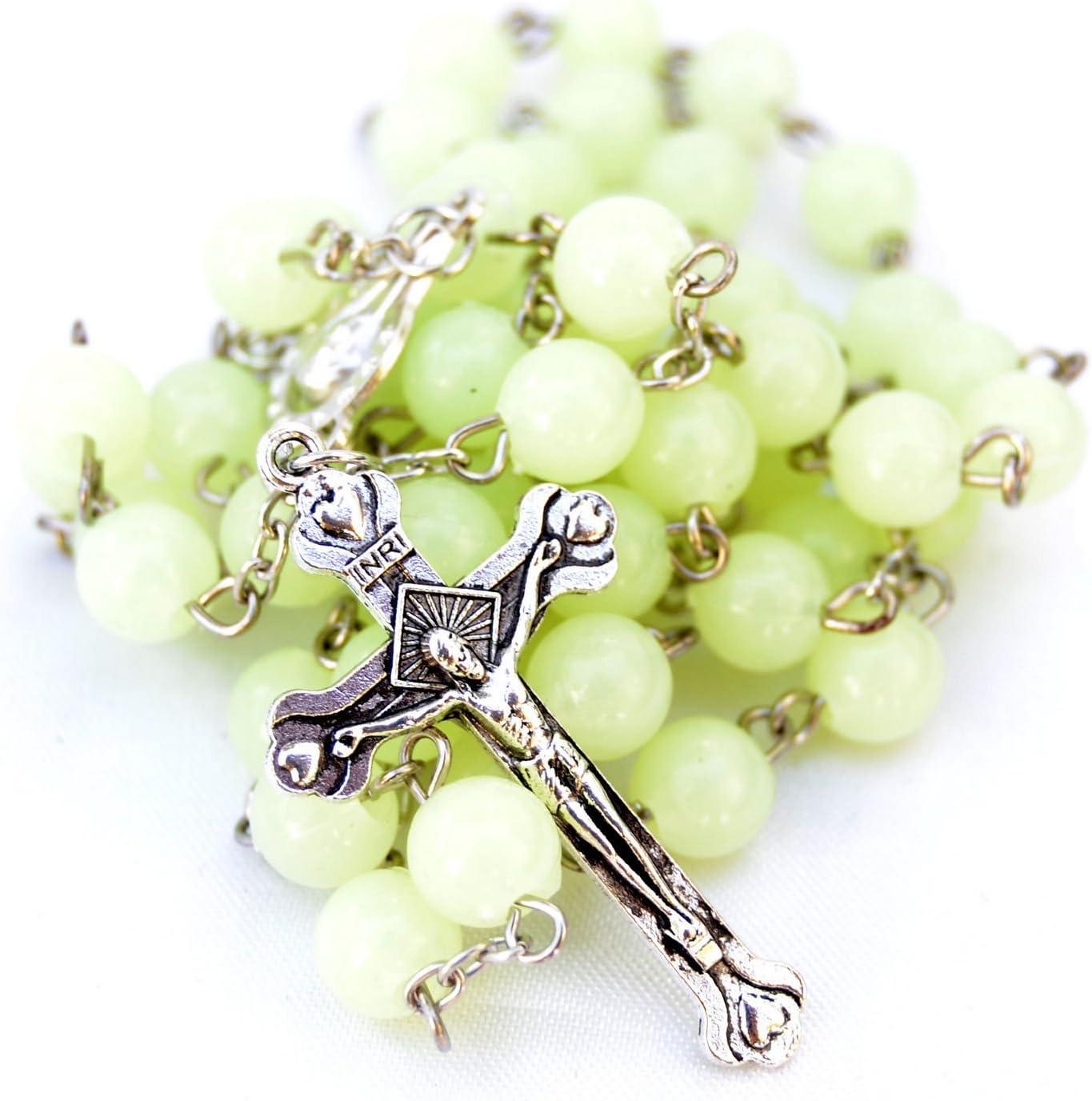 Plastic basic rosary beads necklace glow in the dark luminous