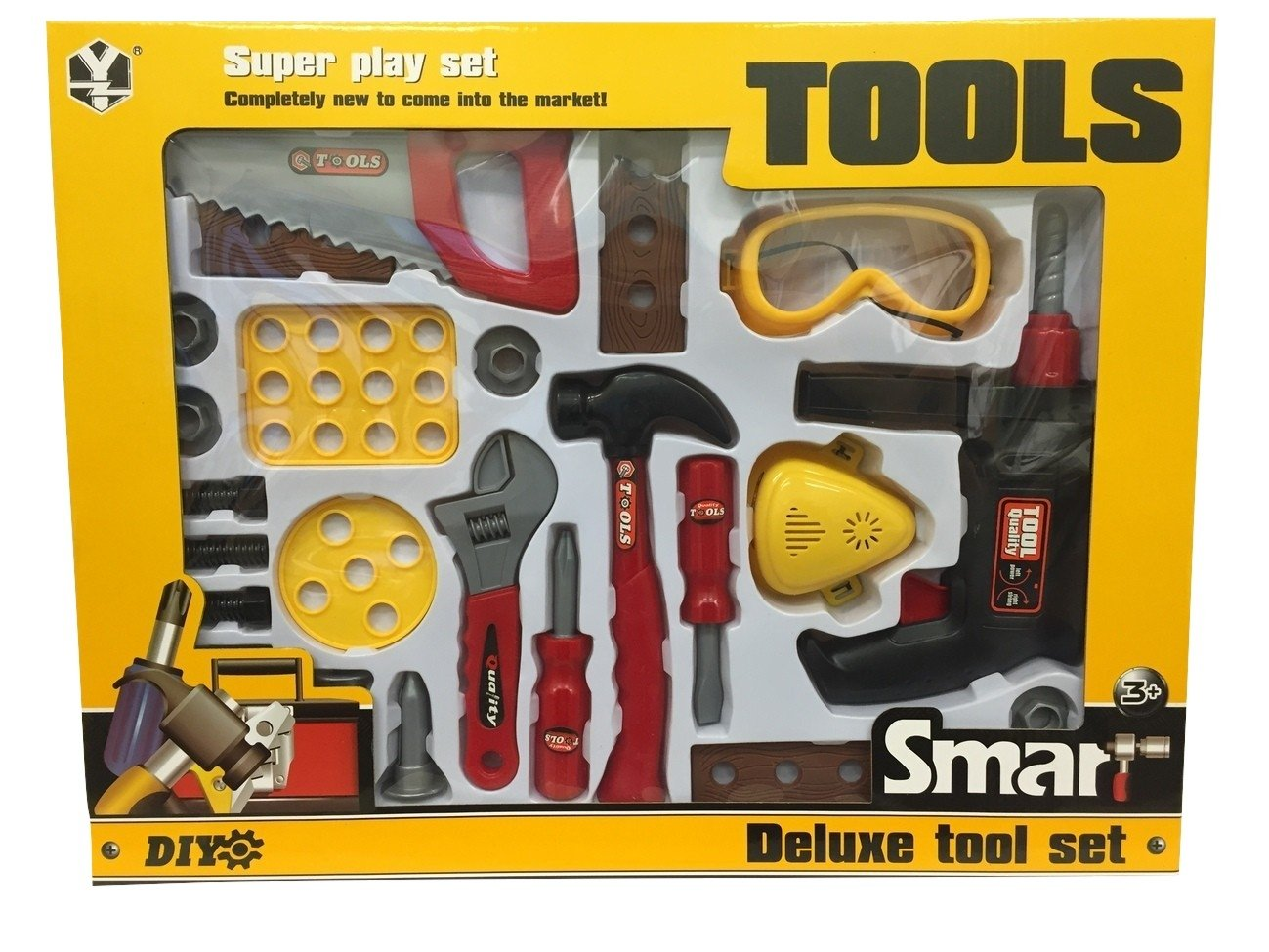BOYS KIDS CHILDRENS ROLE PLAY BUILDER 22 PC DELUXE TOOL SET DRILL TOOLS IN BOX Rostrad ®