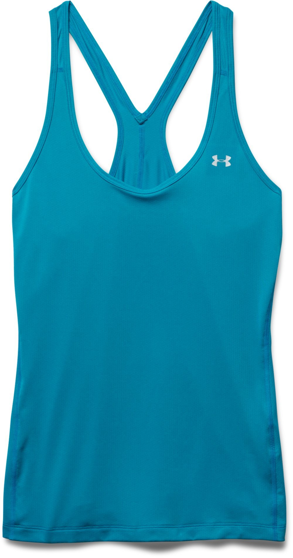 Under Armour Women's HeatGear Armour Racer Tank Top, Aqua Blue (908)/Metallic Silver, Small by Under Armour (Image #3)
