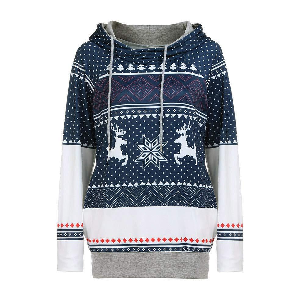 LEEDY Christmas Dots Elk Snowflake Tops Sudadera con Capucha Pullover Blusa: Amazon.es: Ropa y accesorios