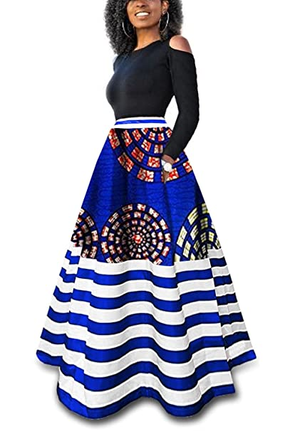 27218c18dded89 Liyuandian Womens African Print High Waisted Skirts Dashiki High Low  Asymmetrical Long Maxi Skirt: Amazon.ca: Clothing & Accessories